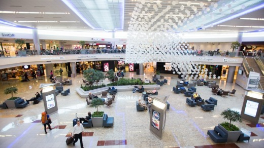 There are 77 food and beverage stores and 1296 toilets located at Hartsfield-Jackson Atlanta International Airport.