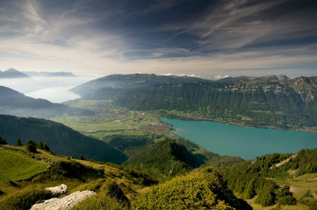 Lake Thun, and Lake Brienz in Interlaken, from the top of the alps.