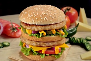 The Indian version of the Big Mac, featuring chicken or a veggie cheese and corn patty.