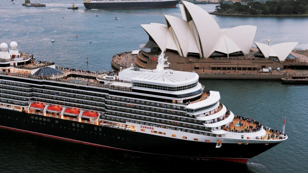 The QM2 and Queen Elizabeth in Sydney Harbour in 2011.