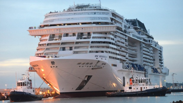 MSC Meraviglia in the final stages of construction.