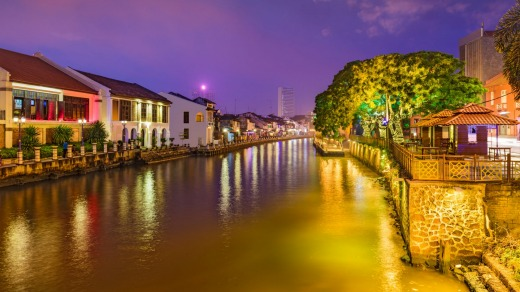 The Malacca River by night.