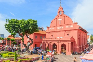 Christ Church and Dutch Square in Malacca, Malaysia. It is the oldest Protestant church in Malaysia.
