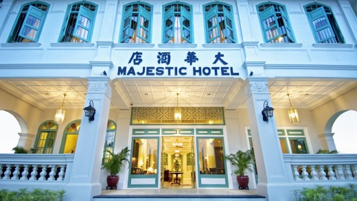 The colonial facade of The Majestic Malacca hotel.