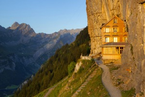 Whisky trekkers can stop off at  Aescher-Wildkirchli, which is built directly into Ebenalp rock face.