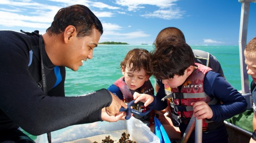 Children learn about sea life at the Jean-Michel Cousteau Fiji Islands Resort.
