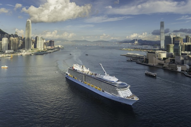 RCI's Quantum of the Seas in Hong Kong Harbour.