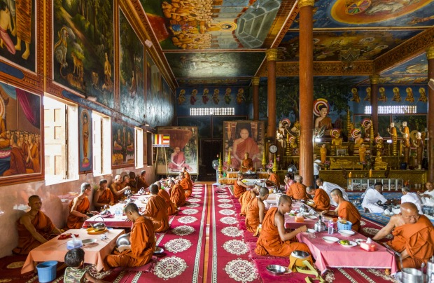 Monks at Oudong Monastery, Oudong, Cambodia.