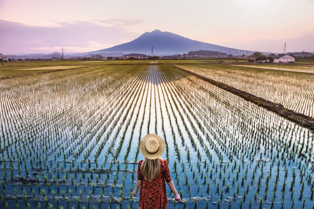 Woman in Hat in overlooking the Rice Fields and Mt. Fuji Japan.