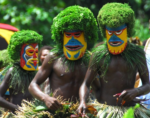 Meeting the locals in PNG with Heritage Expeditions.