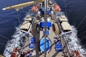 Star Clippers Star Flyer, view of the deck from the crows nest.