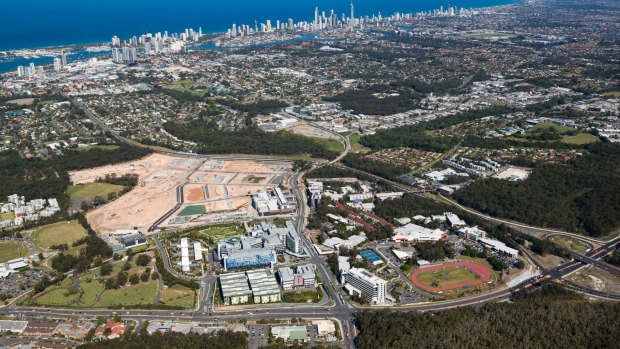 Aerial view of the new Gold Coast Commonwealth Games precinct.