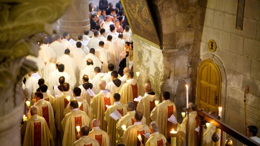 Mass in the Church of the Holy Sepulchre in Jerusalem, Israel.