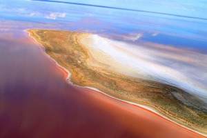 Lake Eyre spans more than 9500 square kilometres in South Australia's outback.