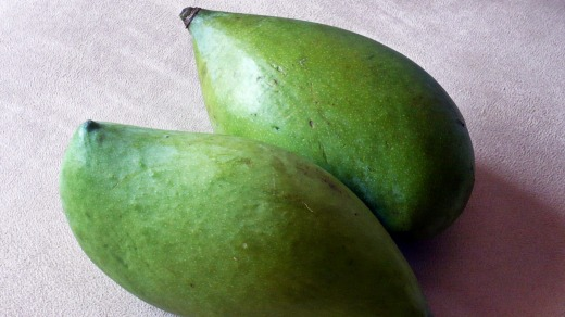Green mangoes.