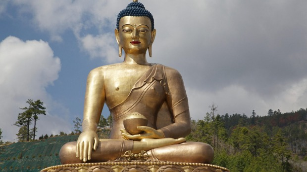 The 50-metre-tall golden Buddha that sits on a hill overlooking the city of Thimpu.