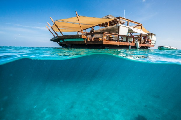My Fiji Cloud 9 transports guests for an exclusive afternoon at Fiji's floating pavilion in the middle of Ro Ro Reef in ...
