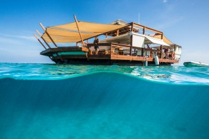 Cloud 9: Kick back on a floating pavilion in the middle of Ro Ro Reef in the Mamanuca Islands.