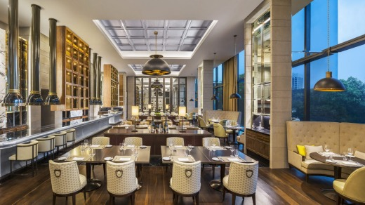 The Brasserie offers an impressive Malaysian and European breakfast buffet and bistro-style Mediterranean fare at night.