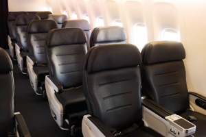 Air New Zealand's Dreamliner premium economy seating.