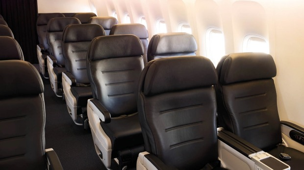 The premium economy cabin on board Air New Zealand's Dreamliner.