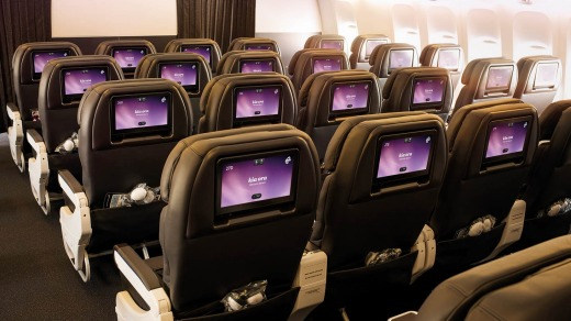Air New Zealand's economy class seats on board its 787-9 Dreamliner.