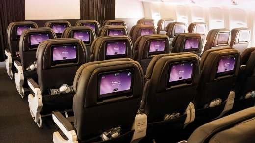 Economy class on board the Air New Zealand Dreamliner.