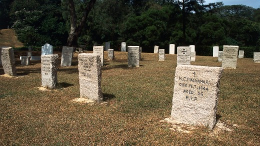 Headstones in the Stanley Military Cemetery.