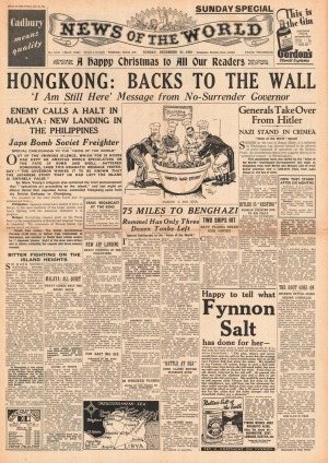 Front page of News of the World Battle for Hong Kong.