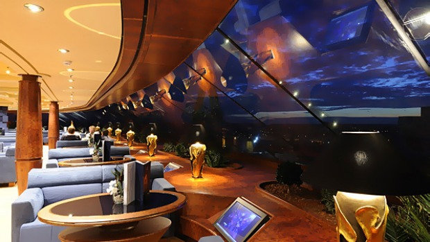 The most elegant part of the ship is the Top Sail Lounge, which is in the exclusive six-star area known as MSC Yacht Club. Located on Deck 15 at the front of the ship, its windows are outstretched for panoramic views.