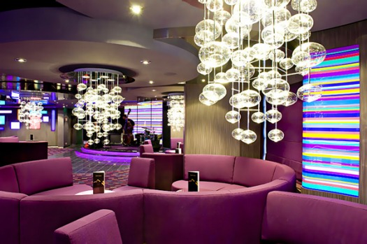 The MSC Splendida's Purple Bar, one of 18 bars and lounges.