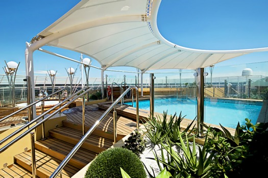 The ship boasts five swimming pools and 12 whirlpool baths.