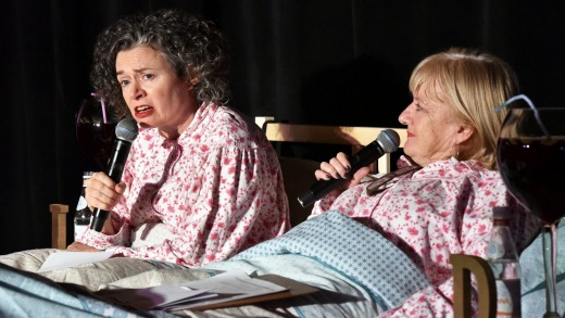 Judith Lucy, left, and Denise Scott launch the 2017 Melbourne International Comedy Festival at the Forum.