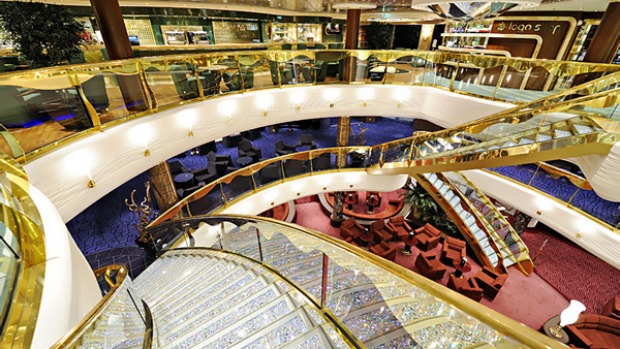 The world's most beautiful cruise ship? The reception area of the MSC Splendida is a showcase of Swarovski crystal - each of the 72 steps glitters with $40,000 worth of crystals ($2.8million in total).