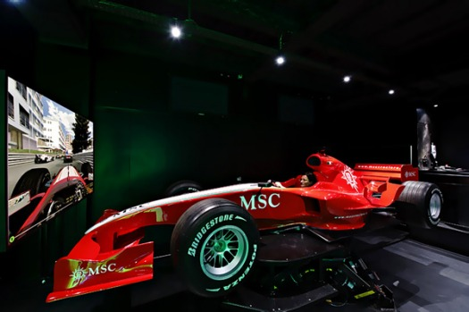 The ship's Formula 1 simulator.