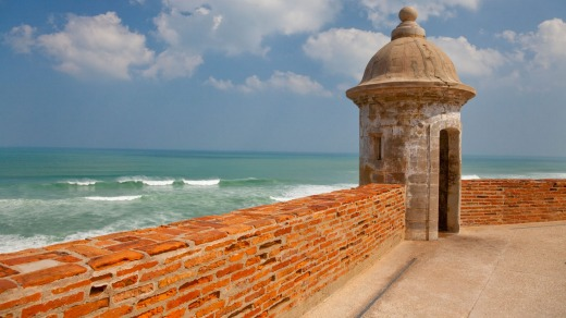 A sentry box overlooking the sea at the San Cristobal Castle in san Juan, Puerto Rico, West Indies.