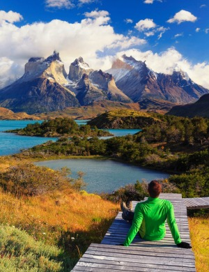 Torres del Paine National Park (UNESCO Site) looking at Cuernos del Paine peaks and Lake Pehoe.