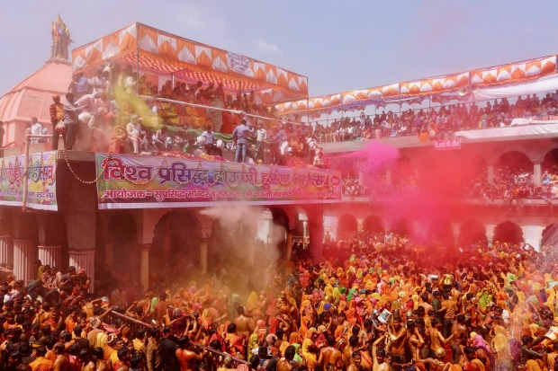 Dauji Temple at Baldev, India (close to Agra), is sacred to Krishna's older brother, Balarama and the day after Holi, ...
