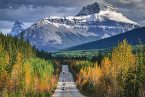 The Canadian Rocky mountains, along the world famous Icefields Parkway (Highway 93), in Alberta province of Canada.