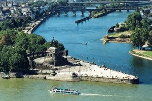 The meeting of the Rhine and Mosel rivers at Koblenz.
