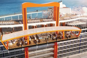 The Magic Carpet, an exterior platform will roam up and down from Deck 2 to Deck 16, is one of the innovations for the ...