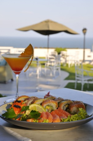 Sushi and cocktails at Polana Serena Hotel.
