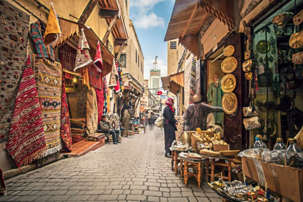 Stores in the medina streets of Fez.