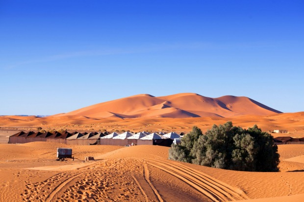 Camp site over sand dunes in Merzouga, Sahara desert.