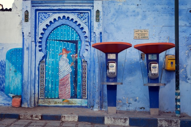 Phone booths in the blue medina of Chefchaouen.