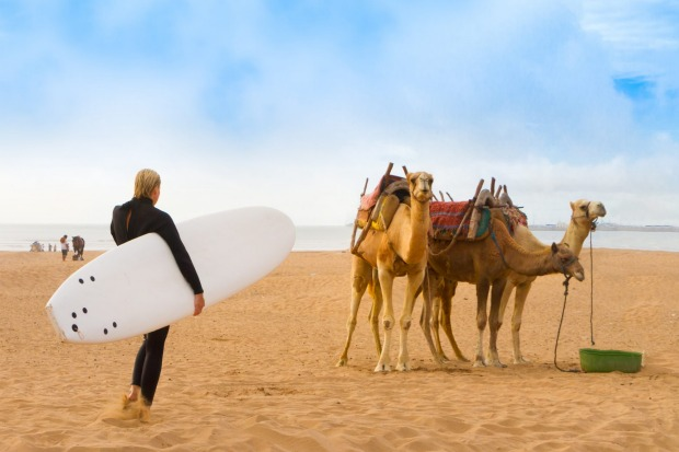 The coast of Essaouira features a surf beach.