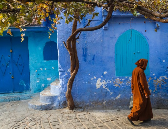 Traditional moroccan architectural details in Chefchaouen, Morocco.