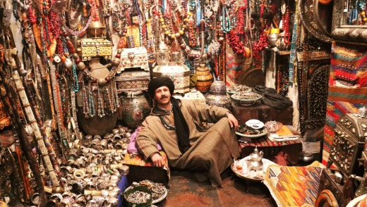 Jamal, a jewellery seller in Marrakesh, shows off a small range of Morocco's many souvenirs that are hard to resist.