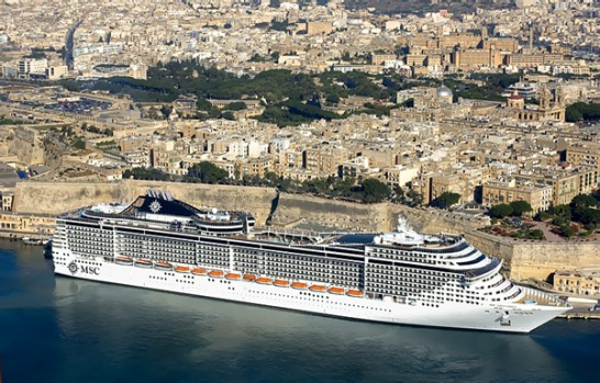 The MSC Splendida in Malta.