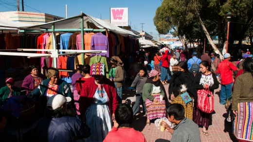 A bustling market in Totonicapan, Guatemala, is awash with colour.